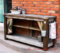 The Friendly Home: {backyard redo} Outdoor Bar from Reclaimed Wood
