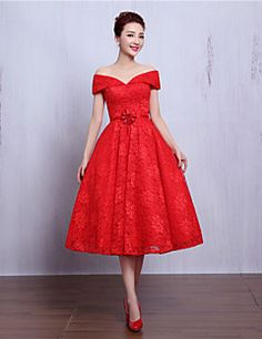 Cocktail+Party+Dress+A-line+V-neck+Tea-length+Lace+with+Beading+/+Flower(s)+–+GBP+£+264.00