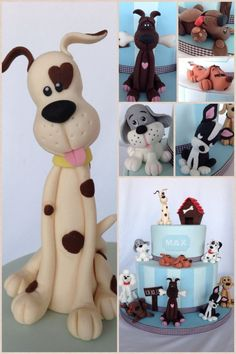 Dog cake - Great for animal lovers.add some cats and perfect! Fondant Toppers, Fondant Cakes, Cupcake Cakes, Cupcakes, Fondant Baby, Cupcake Toppers, Clay Projects, Clay Crafts, Fondant Animals