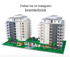 A Modern Architectural style apartment building. LEGO Model by Bremlerbrick Minecraft City, Lego City, Model Building Kits, Lego Building, Modern Architectural Styles, Lego Boards, Lego Christmas, Lego Modular, Lego Construction