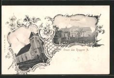 Alte Ansichtskarte: AK Roggow, Kreis Regenwalde Pfarrhaus, Kirche