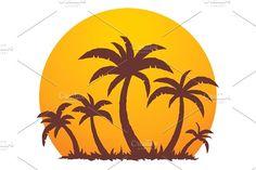 Palm Trees And Summer Sunset by Schwegel Illustration on @creativemarket