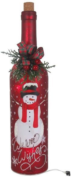 Nicholas Square® Red Light-Up Wine Bottle Christmas Table Decor – Crafts St. Nicholas Square Red Light-Up Wine Bottle Christmas Table Decor The post St. Nicholas Square® Red Light-Up Wine Bottle Christmas Table Decor – Crafts appeared first on Crafts. Glass Bottle Crafts, Wine Bottle Art, Painted Wine Bottles, Lighted Wine Bottles, Bottle Lights, Decorative Wine Bottles, Wine Bottle Decorations, Wine Bottle Glasses, Light Up Bottles