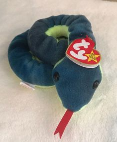 305e8c981f7 1997 Ty Original Beanie Babies HISSY The Blue Green Snake w Tags (15 inch)   Ty