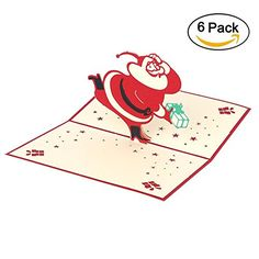 Peicees 3D Christmas Card Santa Claus Pop Up Greeting Cards Holiday Valentine Mothers Fathers Day Thanks Giving Day Card Best Gift Set of 6 -- Visit the image link more details.