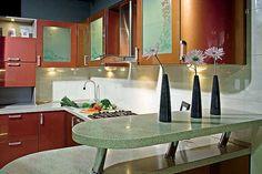 Kitchen Peninsula Ideas | Kitchen peninsula with shelf made of artificial stone
