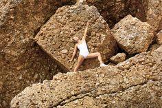 Diana Bourel doing yoga on St. Barth