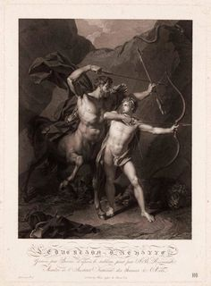 The Education of Achilles by the Centaur Chiron. Charles Clement Bervic. French 1756-1822. engraving after Jean Baptiste Regnault. http://hadrian6.tumblr.com