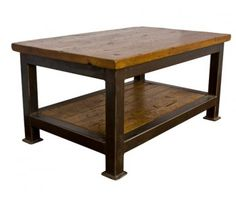 Industrial Steel Framed Coffee Table with Recycled Joist Top sold at The Old Cinema http://www.theoldcinema.co.uk/