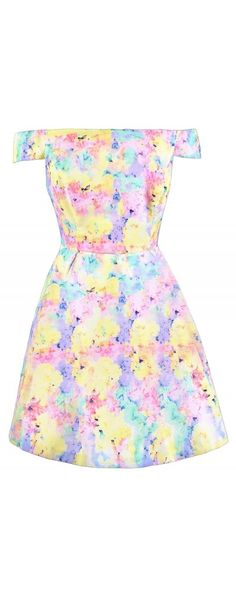 Lily Boutique All Your Easter Eggs In One Basket Printed Dress, $52 Cute Easter Dress, Pastel Summer Dress, Watercolor Pastel Dress, Pastel Off Shoulder Dress, Multicolor Pastel Dress, Off Shoulder Summer Dress, Cute Spring Dress, Pastel Spring Dress www.lilyboutique.com