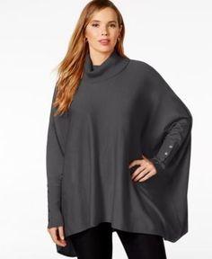 Alfani Plus Size Turtleneck Poncho Sweater, Only at Macy's - Silver 1X