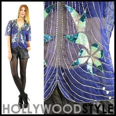 Vintage 80s 20s flapper Sheer SILK beaded sequins by HSVintage, $55.00