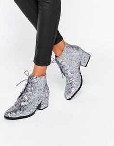 cdde4c71ae8 London Rebel Glitter Lace up Mid Heel Ankle Boot at asos.com