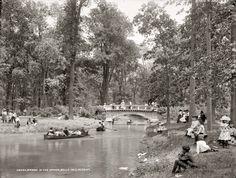 "Detroit, Michigan, circa 1905. ""Bridge in the woods, Belle Isle Park."" 8x10 dry plate glass negative, Detroit Publishing Company."