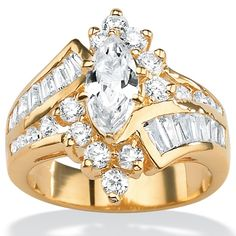 $48.97! 3.20 TCW Marquise-Cut and Baguette-Cut Cubic Zirconia 18k Yellow Gold over Sterling Silver Ring