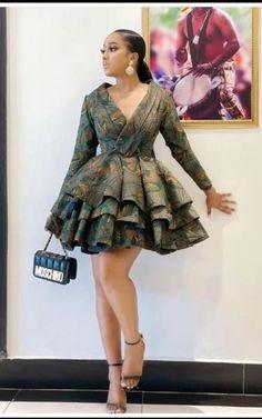 Unique Ankara Styles, Ankara Dress Styles, Ankara Skirt, Short Gown Dress, Short Gowns, African Dresses For Women, African Fashion Dresses, Classy Dress, Classy Outfits