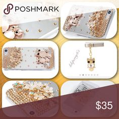 """🎉Host Pick🎉NWT 3D BLING CELL COVER 💥HOST PICK💥""""Casual Friday""""  IPHONE 5SE/5S/5 🌺HANDMADE 3D BLING CRYSTAL RHINESTONE GOLDEN OWL & FLOWER SHINEY GLITTER CLEAR HARD COVER WITH CUTE DUST PLUG Accessories Phone Cases"""