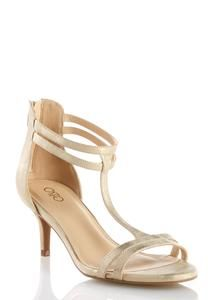 Double T-Strap Heeled Sandals
