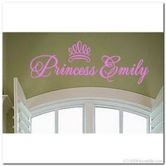 PRINCESS w/Crown Vinyl Wall Lettering Words Decal by itwaddle, $13.95