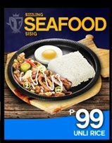 Sizzling Sisig Seafood it contains squid and cream dory fish with unlimited rice for only P99.00