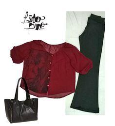 oxford negro + blusa paisana bordo con retrato