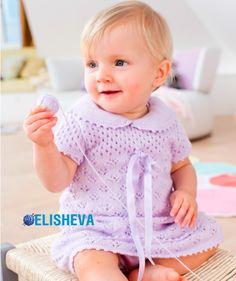 Ажурное, нарядное платье с отложным воротничком для девочки вязаное спицами