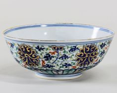 Qing Dynasty Doucai Daqingguangxu Nianzhi Mark Bowl with gilt edge and carved flower decoration. D 155mm, H 60mm.
