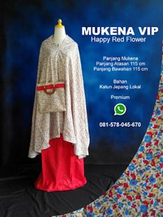 Mukena Vip Happy Red Flower - Grosir Pesan Mukena katun jepang santung bordir batik bali murah anak