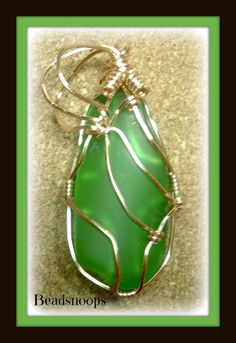 May Emerald recycled glass Birth month pendant by beadsnoops,
