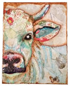 Mixed Media Torn Paper Collage Cow Bull