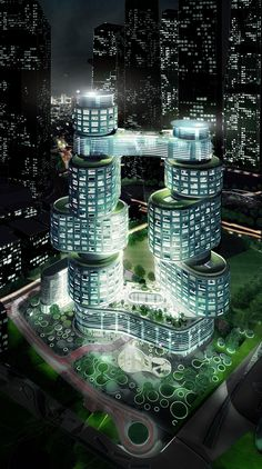 Velo Towers by Asymptote Architecture - Velo Towers by Asymptote Architecture - Types Of Architecture, Futuristic Architecture, Sustainable Architecture, Beautiful Architecture, Contemporary Architecture, Architecture Design, Unusual Buildings, Amazing Buildings, Modern Buildings