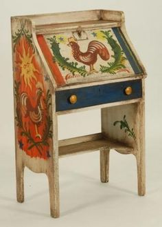 i love this piece Peter Hunt - would make a cute primitive secretary. Hand Painted Furniture, Funky Furniture, Small Furniture, Art Furniture, Antique Furniture, Scandinavian Folk Art, Farmhouse Style Kitchen, Shabby, Tole Painting