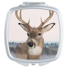 Whitetail Deer Double Exposure Compact Mirror