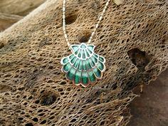 Santiago de Compostela necklace ~ silver + enamel. A spiritual gift for life's camino. This stunning handcrafted sterling silver and enamel scallop shell / concha de vieira is the symbol of the Camino de Santiago.