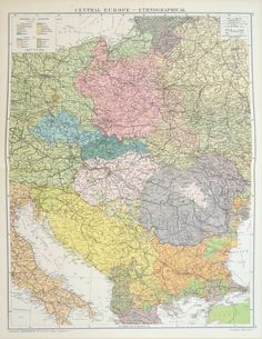 Huge Antique Map : Central Europe & Balkans Ethnographic Map, c. Old World Maps, Old Maps, Vintage World Maps, Eastern Europe Map, Poland Map, Mystery Of History, Central Europe, Historical Maps, Drawing