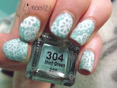 Mint floral nails by ljmoo123