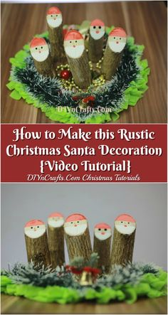 Looking for rustic Christmas decoration ideas which are fast, fun and easy to make? We'll teach you how to turn a tree branch from your own backyard into a cute homespun Santa decoration using just a few basic steps and supplies. Check out the video now! Crafts For Teens To Make, Crafts To Sell, Diy And Crafts Sewing, Diy Crafts, Rustic Christmas, Christmas Crafts, Christmas Trees, Santa Decorations, Craft Videos
