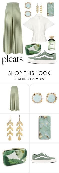 """""""light green for casual look"""" by chicatory ❤ liked on Polyvore featuring Givenchy, Louise et Cie, Irene Neuwirth, Harper & Blake, Vans, Dolce&Gabbana, retro and pleats"""