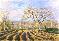 """The Furrows"" -- 1873 -- Alfred Sisley -- British & French -- Oil on canvas -- Ny Carlsberg Glyptotek, Copenhagen, Denmark."