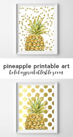 Free pineapple printable art featuring a watercolor pineapple and gold confetti dots!
