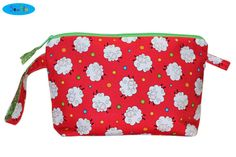 NEW Toiletry Bag With Sheep  Red Zipper Bag with Pocket  by SewFlo