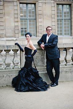 black wedding dress by Vera Wang. Photography by rochellecheever.com