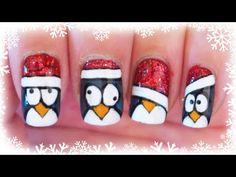 Advent Calendar | 13 - Christmas Penguins nail art ✩ Martina Ek - YouTube