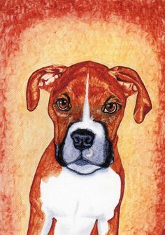 Boxer dog art, puppy card 5 x 7 art print by MILESTOGOwithALI.
