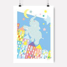Jubel, jubelshop.no, elephant, skyline, kidsdesign, kids interior, poster, plakat, posterdesign, nursery, kidsroom