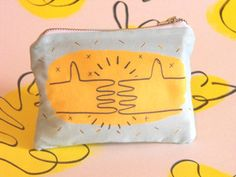 Hold Hand coin purse - printed cotton with original artwork www.sarikathakorlal.com