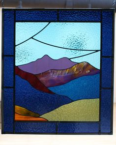 Mountain Morning Stained Glass by WalkingCrowStudio on Etsy, $400.00