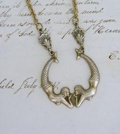 Mermaid Necklace - Twin Mermaids Vintage Retro Brass Necklace - Handmade Love this