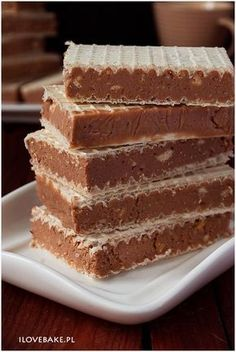 wafle Dessert Cake Recipes, Sweets Cake, Dessert Drinks, Cookie Desserts, Chocolate Desserts, No Bake Desserts, Delicious Desserts, Yummy Food, Polish Desserts