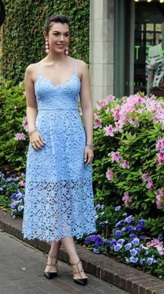 Spring Dress Guide by Never Without Lipstick//Blue lace dress, Easter dress, lace dress, periwinkle dress, Valentino rockstud heels Valentino Rockstud Heels, Rockstud Pumps, Light Blue Dresses, Royal Blue Dresses, Blue Skirts, Women Easter Outfits, Club Dresses, Prom Dresses, Wedding Dresses